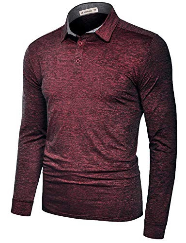 Mens Dry Fit Short/Long Sleeve Golf Polo Shirts Two Tone Casual Athletic Collared T Shirt