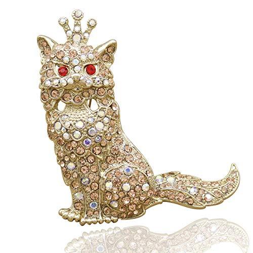 RechicGu Egyptian Bastet Gold Cat Kitten Pet Crown Tiara Hat Tie Lapel Scarf Pin Brooch