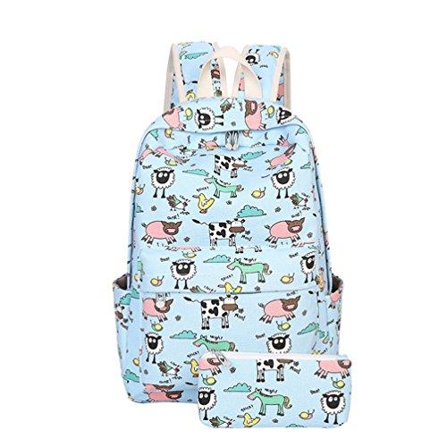 YuanDian Mädchen Kinder Grundschule Schüler Cartoon Drucken Cute Schultasche Büchertaschen Coole Reise Leinwand Wasserdicht Reduzieren Sie Die Belastung Rucksack (Freie Bleistift-Taschen) Hellblau lUmzziy