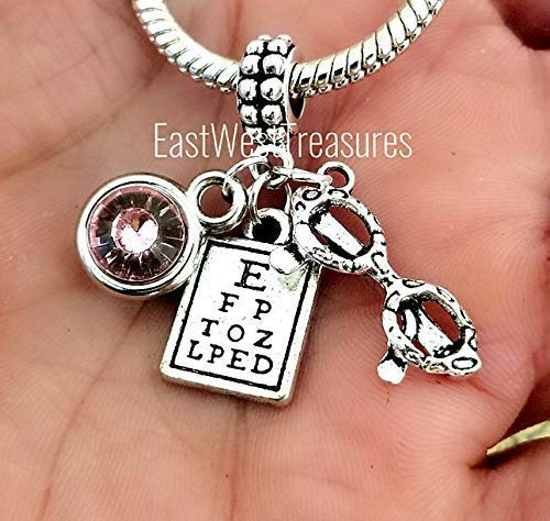 - Optometrist Optician Eye chart Eyeglasses charm bracelet and necklace-Personalized Optometry Jewelry gift for women her