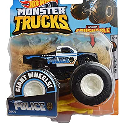 Hot Wheels Monster Trucks 1:64 Scale Police 26/75 Includes Crushable Car, Black/White: Toys & Games