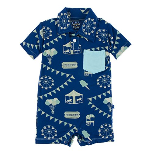 Kickee Pants Little Boys Print Short Sleeve Polo Romper With Pocket - Flag Blue Carnival, 6-12 Months