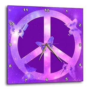 3dRose 3D Rose dpp_40234_2 Universe Peace Sign Purple Butterflies-Inspirational Art-Wall Clock 13-inch