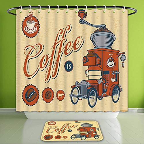 Waterproof Shower Curtain and Bath Rug Set 1960S Decor Artsy Commercial Design of Vintage Truck with Coffee Grinder in Old Fashioned Color Bath Curtain and Doormat Suit for Bathroom 66