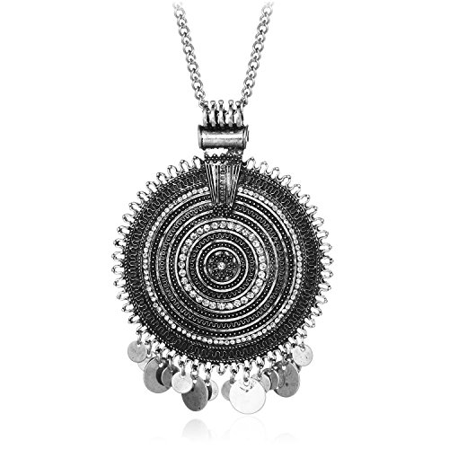 Ethnic Antique Gold Silver Big Round Multicircle Carving CZ Bohemian Pendant Long Sweater Necklace