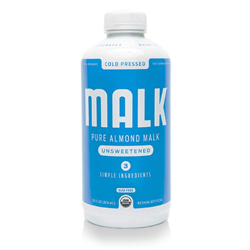 MALK, Unsweetened Almond MALK, Non Dairy, SOY and GLUTEN FREE, Lactose Free and Vegan, 28 ounces, (Pack of 12)
