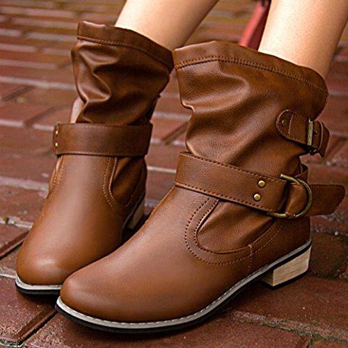 Botas Mujer,Ouneed ® Moda mujer cabeza redonda clásica hebilla botas de invierno marrón