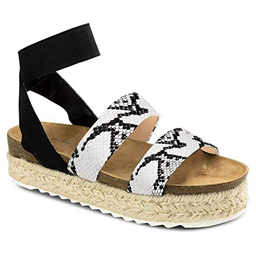 Joywow Women Sandals Casual Espadrilles Sandals Open Toe Platform Strappy Studded Wedge Buckle Ankle Strap Mid Heel Sandals (10 M US, G Snake Printed)