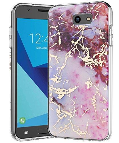 Galaxy J7 V Case,Galaxy J7 Prime Case,Galaxy J7 Perx Case,J7 Sky Pro Case,Spevert Marble Pattern Hybrid Hard Back Soft TPU Raised Edge Slim Protective Case for Samsung Galaxy J7 2017 - Pink Red