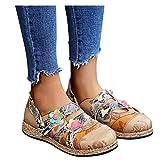 Dainzusyful Mocasines de mujer de moda con flores de lona sin cordones para mujer, punta redonda, transpirable, zapatos de viaje