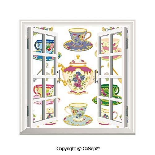 - SCOXIXI Removable Wall Sticker,Selection of Vivid Colored Teacups Pot Sugar and Floral Arrangements in Corners Decorative,Window Sticker Can Decorate A Room(25.86x22.63 inch)