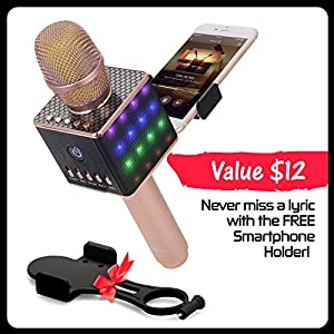Wireless Bluetooth Karaoke Microphone – Portable KTV Karaoke Machine with Speaker + FREE USB Disco Ball Light & Phone Holder Perfect for Pop, Rock n' Roll Parties, Solo Parties & More H8 2.0 Rose Gold