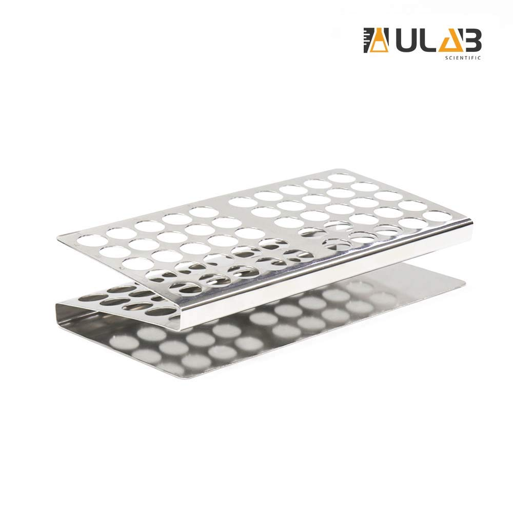 ULAB Stainless Steel Test Tube Rack, Z Shape, 50Holes(5×10), UTR1008 by ULAB