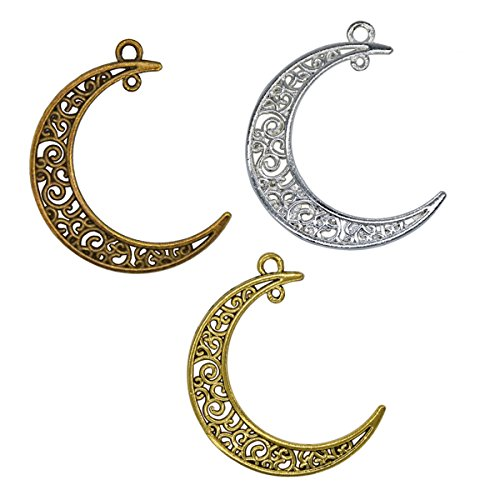 YUEKUI 16Pieces Hollowed Moon Jewelry Making Accessory Bronze Necklace Pendant 3930mm