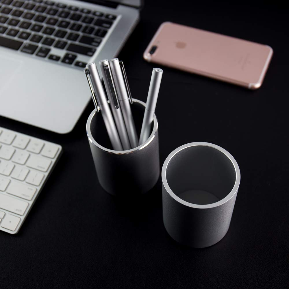 Metal Pencil and Pen Holder Vaydeer Round Aluminum Desktop Organizer and Cup Storage Box for Office,School,Home and Kids 3.9/×3.1 inch.