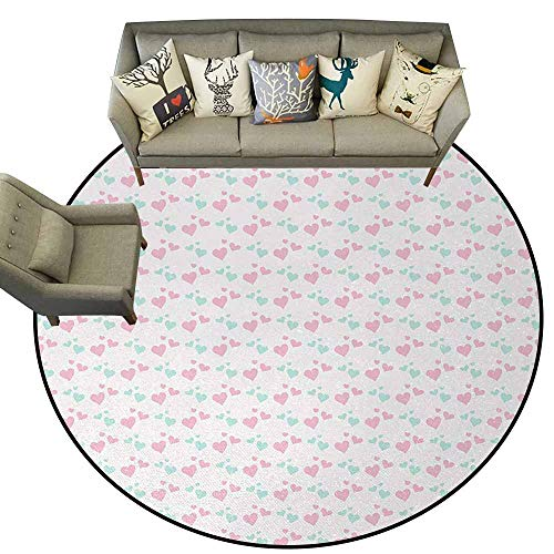 Kids,Modern Round Area Rug D78 Girls Room Inspired Image of Cartoon Hearts Love Valentines Design Contemporary Synthetic Rug Light Pink Mint Green and White ()