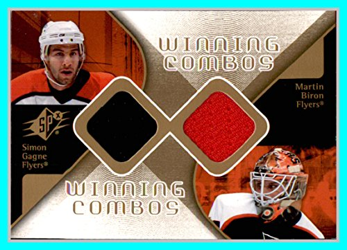 2007-08 SPx Winning Combos #WCGB Simon Gagne Martin Biron DUAL GAME USED JERSEYS Philadelphia Flyers