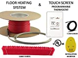 100 Sqft Warming Systems 120 V Electric Tile Radiant Floor Heating Cable with Touch Screen Programmable Thermostat