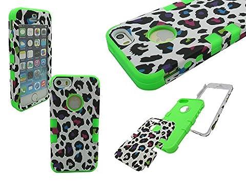iPhone 5 Armor Case, Nue Design Cases TM High Impact Rugged Hybrid COLORFUL ANIMAL/CHEETAH PRINT (iPhone 5/5s) Silicone & PC Case (LIME (Iphone 5 Cases Cheetah)