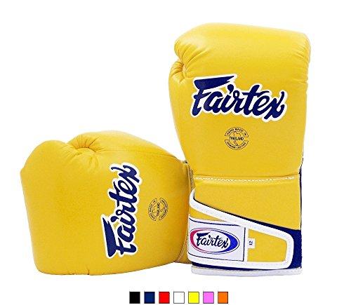 Fairtex Boxing gloves BGV6 - Stylish Angular Sparring Gloves, Yellow/Black Color. Size: 12 14 16 oz. Sparring gloves for Kick Boxing, Muay Thai, MMA (Yellow/Black, 14 oz)