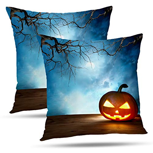 Batmerry Halloween Thanksgiving Decorative Pillow Covers 18x18 inch Set of 2,Halloween Pumpkin Scene Moon October Scary Border Spooky Horror Throw Pillows Covers Sofa Cushion Cover Pillowcase