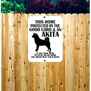 Dog Owner Metal Sign/Protected by Dog Metal Sign/Beware of Dog Sign/Akita Metal Sign/Home Protected by Dog/Dog Sign 9