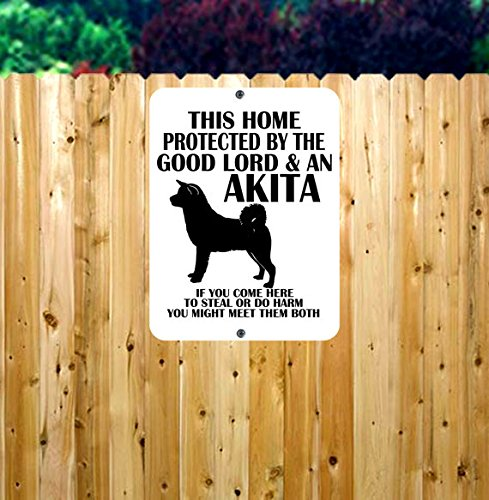 Dog Owner Metal Sign/Protected by Dog Metal Sign/Beware of Dog Sign/Akita Metal Sign/Home Protected by Dog/Dog Sign 1