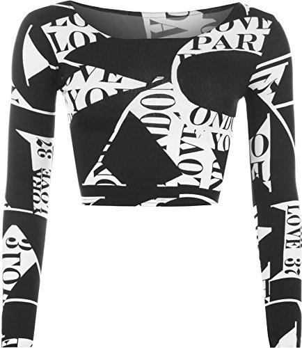 WearAll Women's Print Long Sleeve Crop Top - Letters - US 4-6 (UK 8-10)