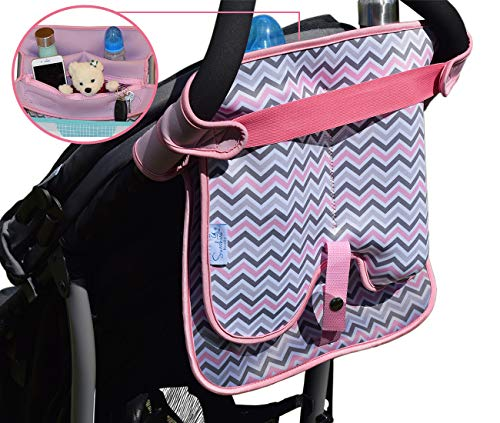 Baby Stroller Caddy Storage Organizer - Cup, Bottle and Diaper Holder for Stroller Accessories Bag - Universal Umbrella Stroller Organizer with Cup Holders - Perfect Baby Shower Gift (Pink)