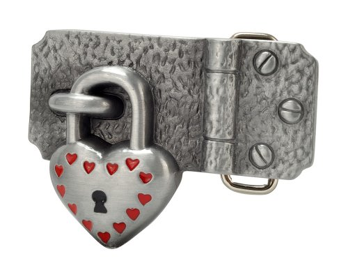 Love Belt (Buckle Rage Adult Women's Hinged Heart Padlock Love Lock Down Belt Buckle Silver Red)