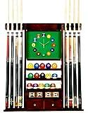 Cue Rack Only - 8 Pool - Billiard Stick & Ball Wall Rack W Clock Choose Oak or Mahogany Finish (Mahogany)