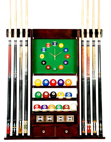 Wood Pool Clock (Cue Rack Only - 8 Pool - Billiard Stick & Ball Wall Rack W Clock Choose Oak or Mahogany Finish (Mahogany))