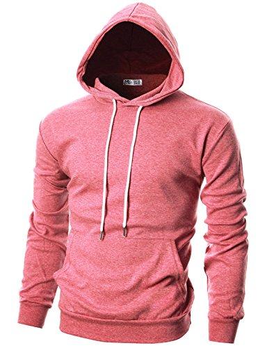 (OHOO Mens Slim Fit Long Sleeve Lightweight Hoodie with Kanga Pocket/DCF010-PINK-L )