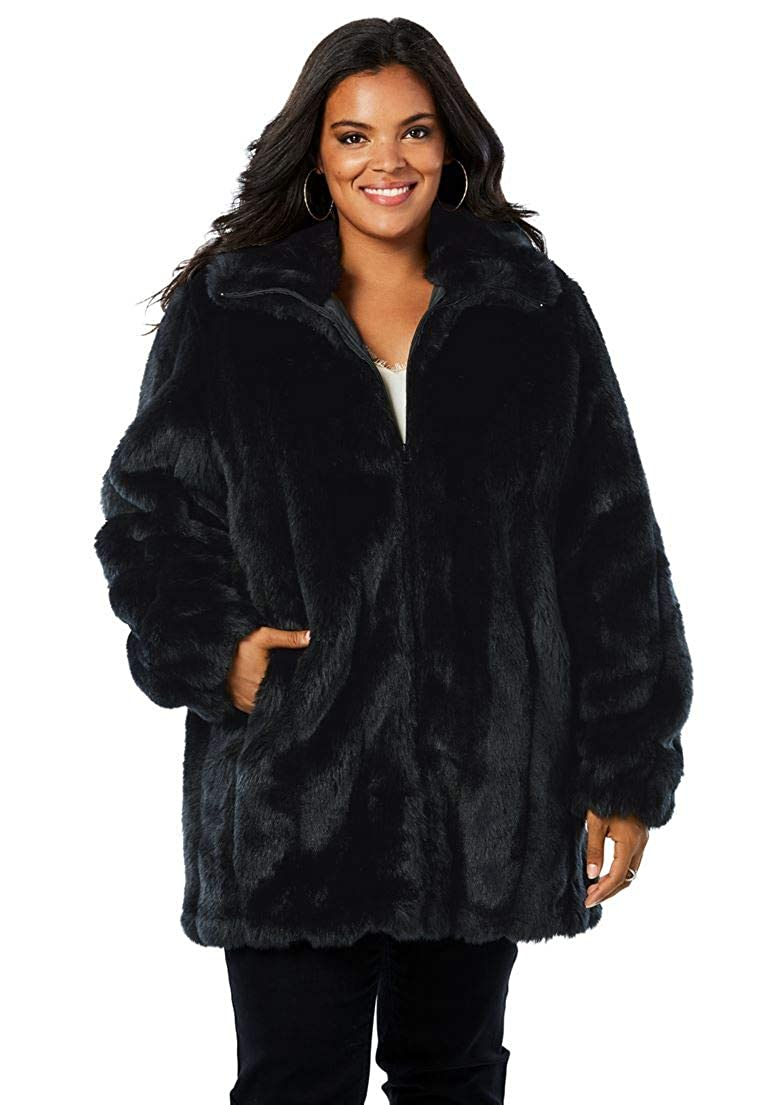 Roamans Women's Plus Size Short Faux-Fur Coat