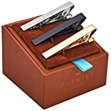 3 Pc Mens Tie Bar Pinch Clip Set for Regular Ties 2.1 Inch, Silver-Tone, Black, Gold-tone