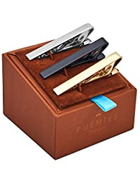 3 Pc Tie Clip Bar Set 2.15 Inch (5.4cm) Regular Width Ties Silver, Gold, Black in Deluxe Gift Box by Puentes Denver