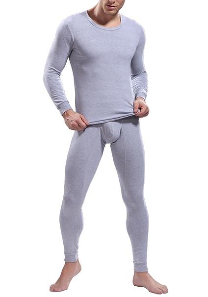 Louis Rouse Hombres del Color sólido simple moda cómodo térmica ropa interior Set (XL,