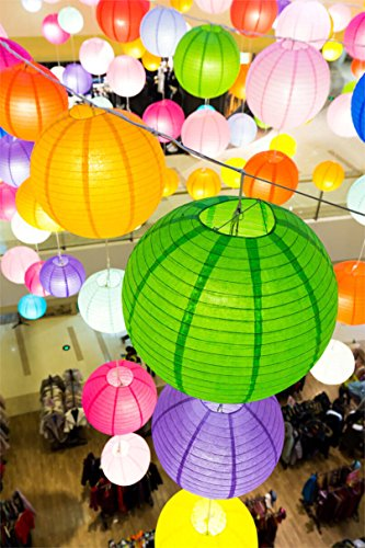 Selizo 15 Packs Paper Lanterns with Assorted Colors and Sizes for Party Decoration by Selizo (Image #5)