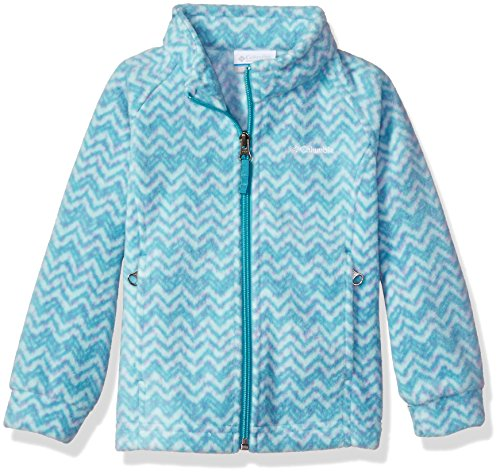 Columbia Big Girls' Benton Springs Ii Printed Fleece Jacket, Pacific Rim Tweed, Medium - Printed Full Zip Fleece