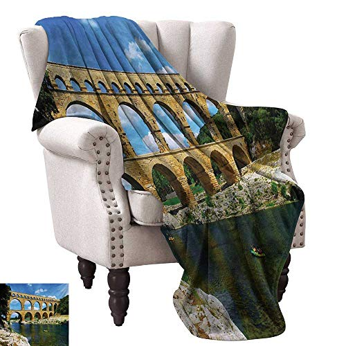 WinfreyDecor Landscape Home Throw Blanket Ancient Roman Heritage Wall Southern France Architectural Historical Landmark Anti-Static Throw 70