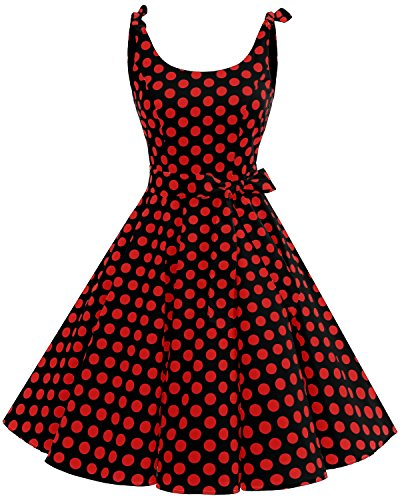 Bbonlinedress 1950's Bowknot Vintage Retro Polka Dot Rockabilly Swing Dress Black Red BDot XL]()