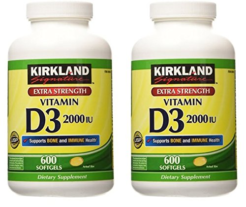 Kirkland Signature Extra Strength Vitamin D3 2000, 2 Packages (600 Softgels/Bottle)