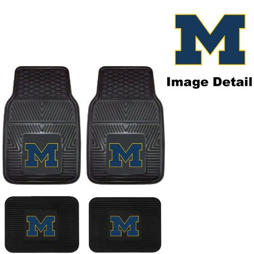 (U-M University of Michigan Wolverines Front & Rear Car Truck SUV Vinyl Car Floor Mats - 4PC)