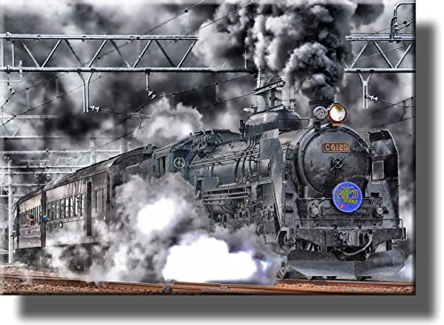(Steam Engine Train Picture on Stretched Canvas, Wall Art Décor, Ready to Hang!)
