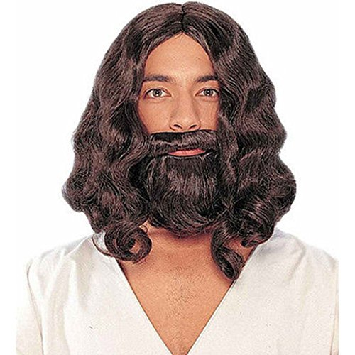 Adult Cosplay Costume Biblical Men's Jesus Wigs and Beard Set Brown, Brown, onesize