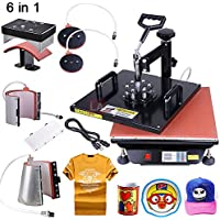 Set 6-in-1 15x15 Heat Sublimation Transfer Press Machine 1200W for DIY T-shirts Caps Ceramic Plates Ceramic Tiles Mugs Coasters Mouse Pads Jigsaw Puzzles Lettering