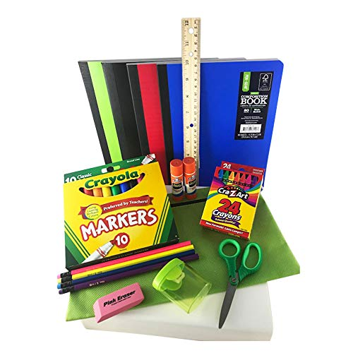 Back to School Bundle/Starter Kit – Great for Grade School – Includes Apple Green Supply Pouch, notebooks, Ruler, Markers, Crayons, Pencils, Pencil Sharpener, Eraser, and Glue Sticks