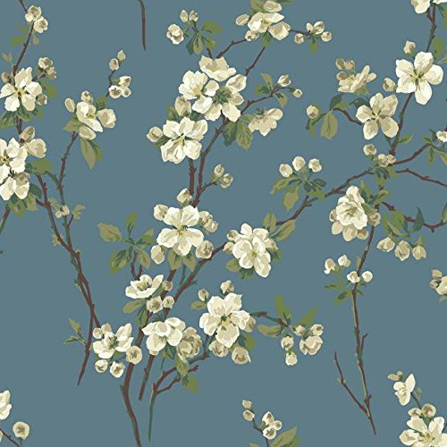 Wallpaper Raised Ink Cherry Blossoms Floral Tan Beige White Green on Wedgewood Blue (Wedgewood Cherry)
