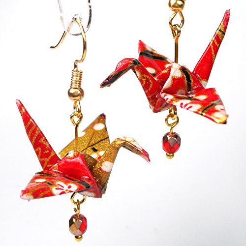 - Red White Gold Color Origami Good Luck Paper Crane Earrings, Birthday 1st Anniversary Gift for Her