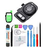 OmniRepairs-Rear Facing Glass Camera Lens Frame Assembly Replacement with Flash Diffuser For Samsung Galaxy S7 SM-G930 and S7 Edge SM-G935 with Adhesive and Repair Toolkit (Black)